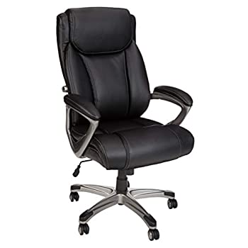 Image of AmazonBasics Big & Tall Executive Office Desk Chair - Adjustable with Armrest, 350-Pound Capacity - Black with Pewter Finish, BIFMA Certified Home and Kitchen