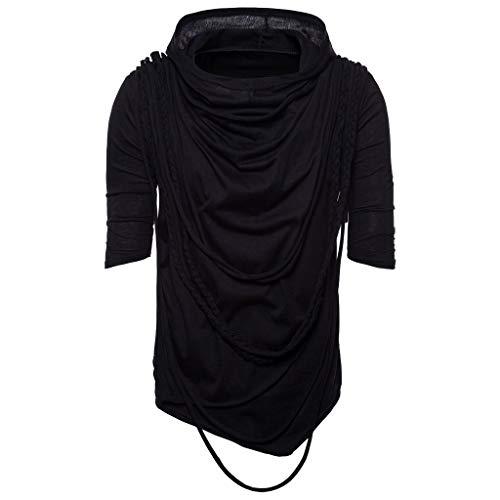 - Summer Solid Color Hip Hop Rope Hooded Short Sleeved Shirt Fashion Men Casual Slim Hoodie Top