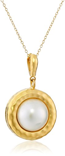 18k Yellow Gold-Plated Sterling Silver and Mabe Cultured Pearl Pendant Necklace, 18