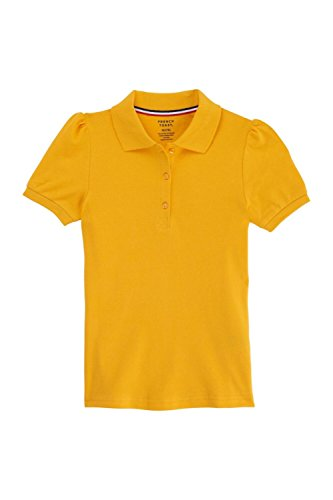 French Toast Big Girls' Short Sleeve Stretch Pique Polo, Gold, Large/10/12 by French Toast