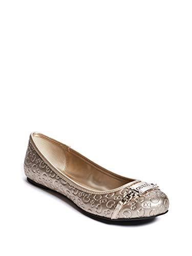GUESS Factory Women's Gina Logo Plaque Flats Gold