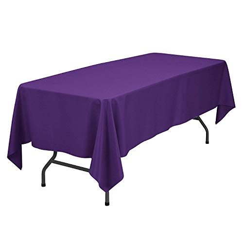 (GlaiEleh Rectangle Tablecloth - 60 x 102 Inch -Purple Rectangular Table Cloth for 6 Foot Table in Washable Polyester - Great for Buffet Table, Parties, Holiday Dinner, Wedding & More)