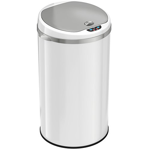 iTouchless 8 Gallon Automatic Kitchen Trash Can – Sensor Trash Bin – White Steel – Round – Odor Control System