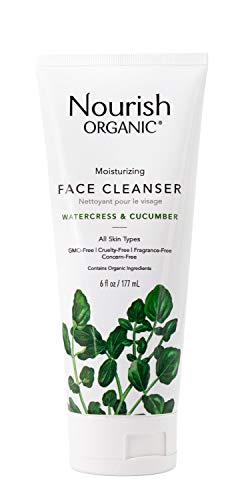 Nourish Organic Moisturizing Face Cleanser, Watercress & Cucumber, 6 Ounce (Packagin may vary)