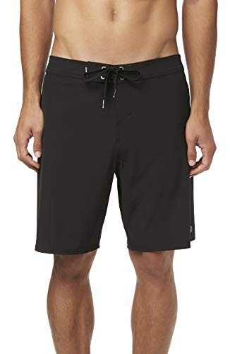 O'Neill Men's Water Resistant Hyperfreak Stretch Swim Boardshorts, 19 Inch Outseam (Black/Solid, 28) (Best Mens Suits In The World)