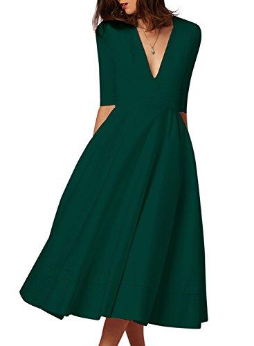 V-Neck Ruched Waist Dress - 4