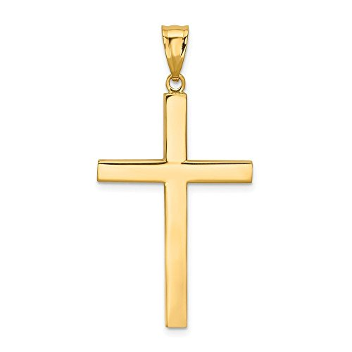 14K Yellow Gold High Polish Finish Plain Cross Pendant