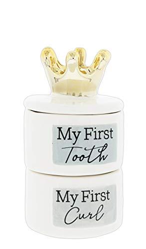 Ceramic 'First Tooth' & 'First Curl' Keepsake Box Set ()