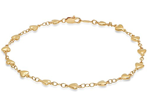 5.5mm 25 mills 24kt Gold Plated Heart Link Chain Anklet, 10 -