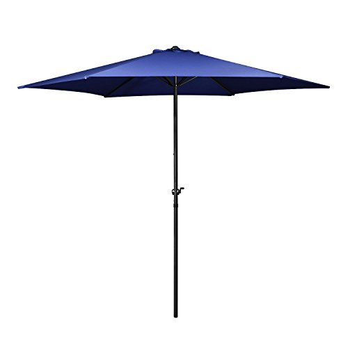 Flexzion Patio Umbrella 9 Feet - Portable Aluminum Outdoor Table Desk Umbrella Furniture with Hexagon Shape Polyester Cover 6 Steel Ribs Wind Vent for Market Beach Garden Backyard Pool (Blue)
