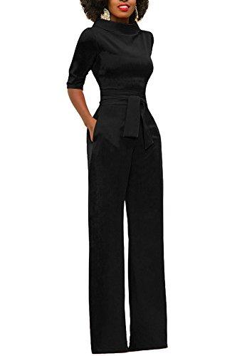 Mojessy Women's Half Sleeve Candy Solid Bodycon Jumpsuits Wide Leg Long Romper Pants With Belt XX-Large Black Black Pants Suit