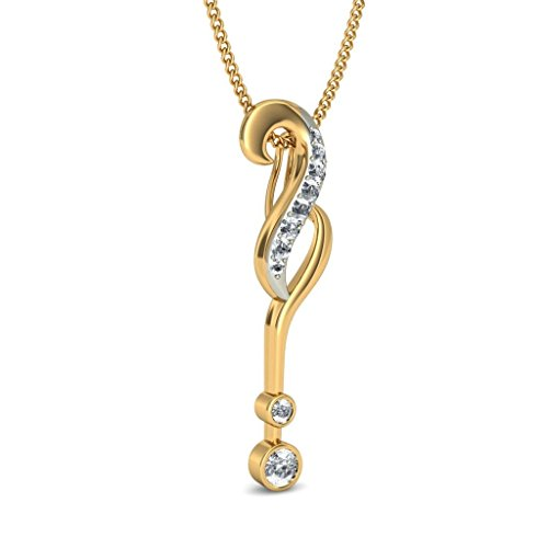 14 K Or jaune 0,26 CT TW Round-cut-diamond (IJ | SI) Pendentif
