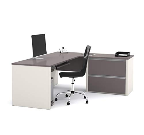 Bestar L-Shaped Desk with lateral File Cabinet - Connexion