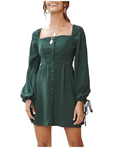 Coolred-femmes Bouton Tunique Col Carré De Couleur Unie Robes Courtes Vers Le Bas Vert Noirâtre