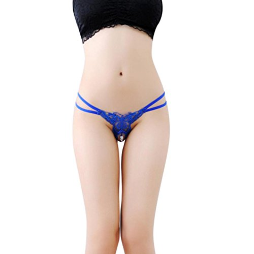Perman Cheap Women Sexy Briefs, Lace Pendant Pearl G String Open Crotch Thong Panties -