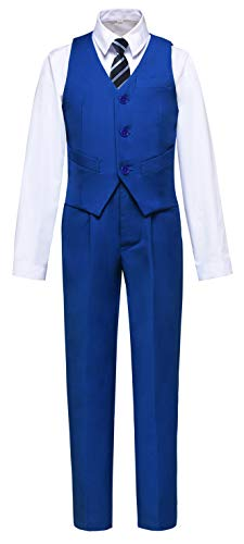 Visaccy Boys Suits Slim Fit Dress Clothes Vest and Pants Set Royal Blue Size 10