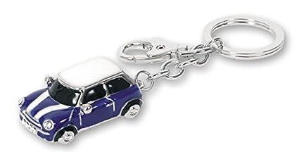 Mini Llavero de Metal con argolla y mosquetón con Brillantes Decorativos. Azul, Rojo, Negro o Blanco. 1 Unidad (Azul)