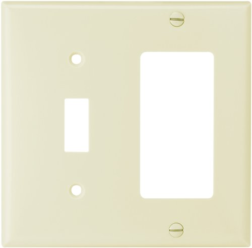 Eaton 2153A Standard Size 2-Gang Thermoset Toggle and Decorator Combo Wall Plate with Box, Almond Finish