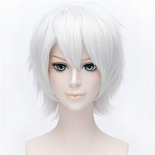 I TRUE ME Anime Short Layered Cosplay Wig Halloween Party Silvery White Hair]()
