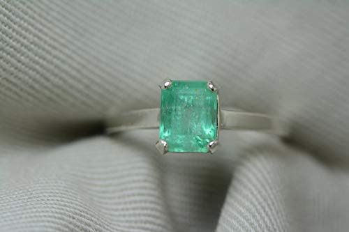 Certified 1.48 Carat Emerald Ring, Colombian Emerald Solitaire, Sterling Silver, Genuine Real Natural Emerald Cut May Birthstone Jewelry er7 ()