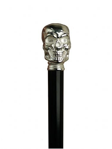 Walking Cane - Skull, this walking stick cane has a metal handle with chrome finish, Hardwood shaft. This walking aid has a a weight capacity of 250 pounds and 36 inches long of height. by King Of Canes