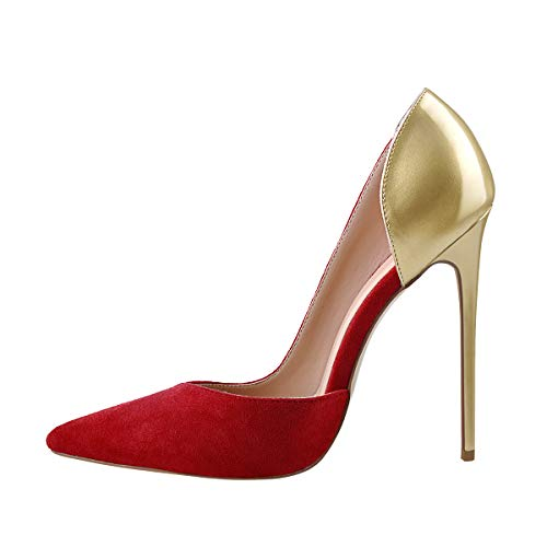 Onlymaker Pointed Toe High Heels D'Orsay Heeled Sandals Slip on Stiletto Pumps Dress Party Artificial Suede Plus Large Size Shoes Red Gold Size 7