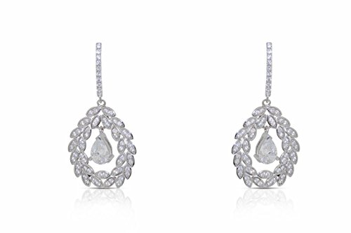 Sterling Silver Crystal Pear Shape Leaf Hanging Earrings for sale  Delivered anywhere in USA