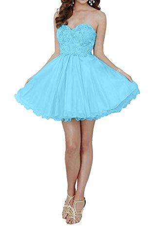 Partykleider A mia Rock Spitze Brau Promkleider La Damen Festlichkleider Blau Linie Tanzenkleider Kurzes Mini Abendkleider YqOcdwv