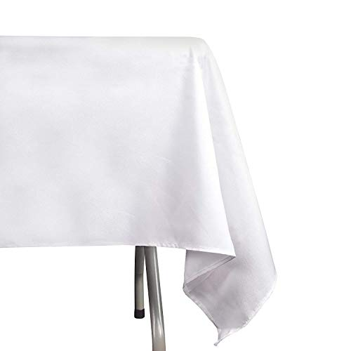EMART Rectangle Tablecloth, 60 x 102 inch White 100% Polyester Banquet Wedding Party Picnic Rectangular Table Cloths (6 Pack)]()