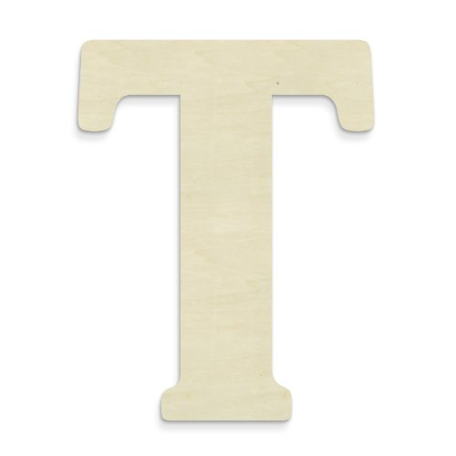 Price comparison product image UNFINISHEDWOODCO Unfinished Wood Letter, 15-Inch, Monogrammed T, Large