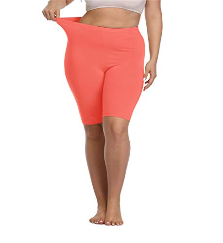 Kotii Women's Plus Size Short Leggings Modal Cotton Shorts Under Dresses Leggings Pants,1X Watermelon Red