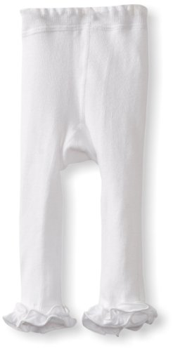 Jefferies Socks Baby Girls' Pima Ruffle Footless Tight, White, 6 18 Months