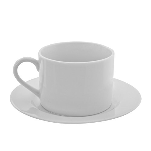 10 Strawberry Street Z-Ware White Porcelain Cup and Saucer (Set of 6) ZW-9-6