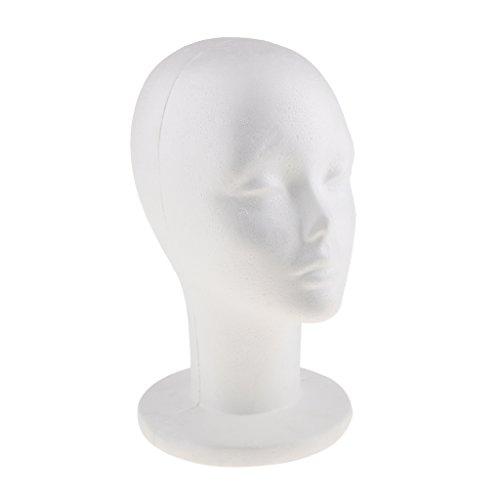 Perfk  発泡 モデル スチロール ヘッド 多機能 メガネ かつら 帽子 展示 約30x18x16cm ホワイトの商品画像
