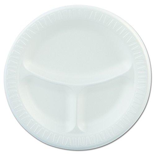 (Dart 9CPWQR 9 in White Laminated Foam 3 Comp Plate (Case of 500))