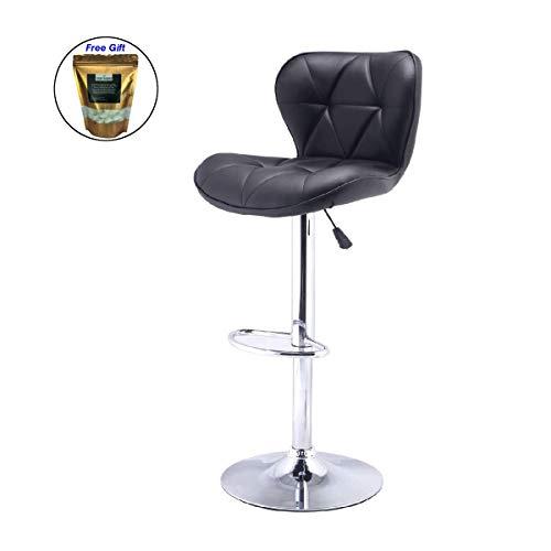 1 PC Adjustable Bar Stool Swivel PU Leather Barstools Bistro Pub Chair Black + FREE E - Book ()