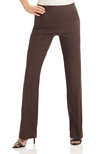 Rekucci Women's Ease in to Comfort Boot Cut Pant (14,Brown Mix)