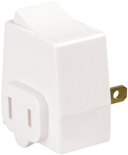 Eaton BP4404W-L 5-Amp, 125-Volt 2-Wire Plug-In Adapter Switch, White ...
