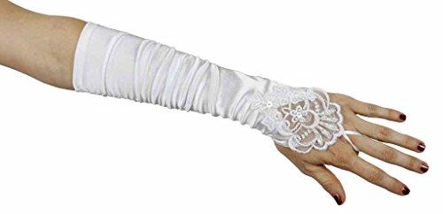 Grace Fingerless Long Gathered and Beaded Gloves, White