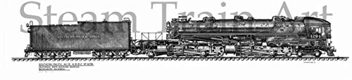 Steam Train Art Pen & Ink Illustration Southern Pacific Daylight No. 4294 by Charles Endom (Small 12