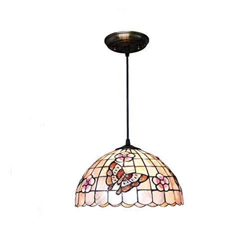 Tiffany Style Pendant Light, 12-Inch Shell Material Cherry Blossom Butterfly Pattern Pendant Light Shade Single Head 1-Light Lighting for Kitchen Island