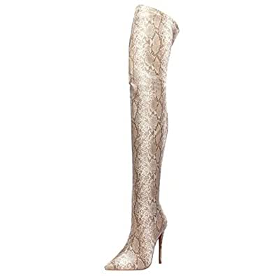 Melady Women Fashion Thight High Boots Zipper Dress Overknee Boots Pointed Toe Evening Party Shoes Stiletto Heels Snake Apricot Size 34