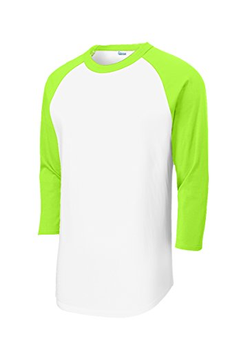 Mens or Youth 3/4 Sleeve 100% Cotton Baseball Tee Shirts Youth S to Adult 4X WH/LYM-L