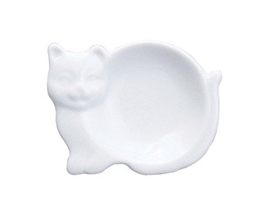 HIC Harold Import Co. 73/29 Cat-Shaped Tea Bag Caddy, Fine White Porcelain, 3.75