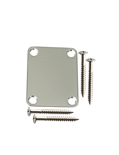 Electric Guitar Jazz Bass Neck Plate Standard 4 Holes with Screws Compatible with Strat Tele Guitar Parts Replacement Pack of 1Set. (Chrome)