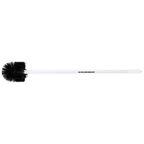 Drain Brush With Black Bristles White Plastic 3' Rigid Handle - 6