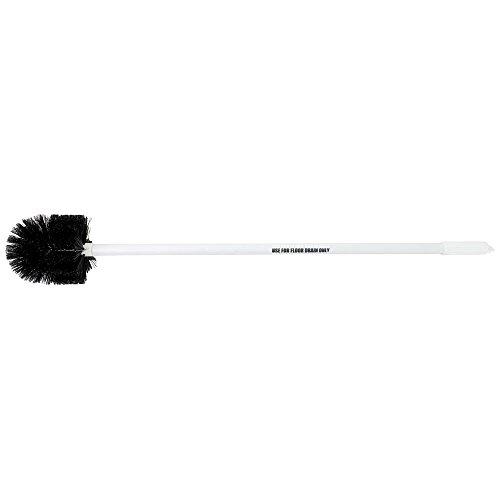 Drain Brush with Black Bristles White Plastic 3' Rigid Handle - 6