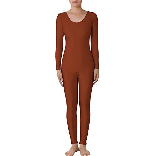 [Muka Scoop Neck Long Sleeve Unitard Lycra Zentai Bodysuit Catsuit Dancewear RUSTRED-XL] (Male Wench Costume)
