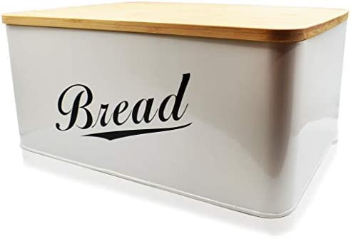 31mSHnOg4tL. AC RoyalHouse Modern Metal Bread Box with Bamboo Lid, Bread Storage, Bread Container for Kitchen Counter, Kitchen Decor Organizer, Vintage Kitchen    Perfect Size Bread Box Saves your kitchen counter space in your kitchen with the Claimed Corner Metal Bread Box. Free up limited cupboard space and keep your bread fresh, longer and looking great with this perfectly sized breadbox.