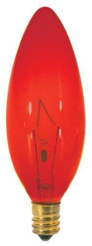 (Satco S3219 25 Watt B9.5 Incandescent 120 Volt Candelabra Base Light Bulb, Transparent Red)